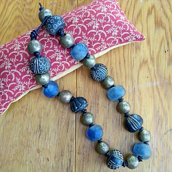 "SandRhyme Jewelry - SandRhyme 18"" Necklace Glass Brass Clay Beads"